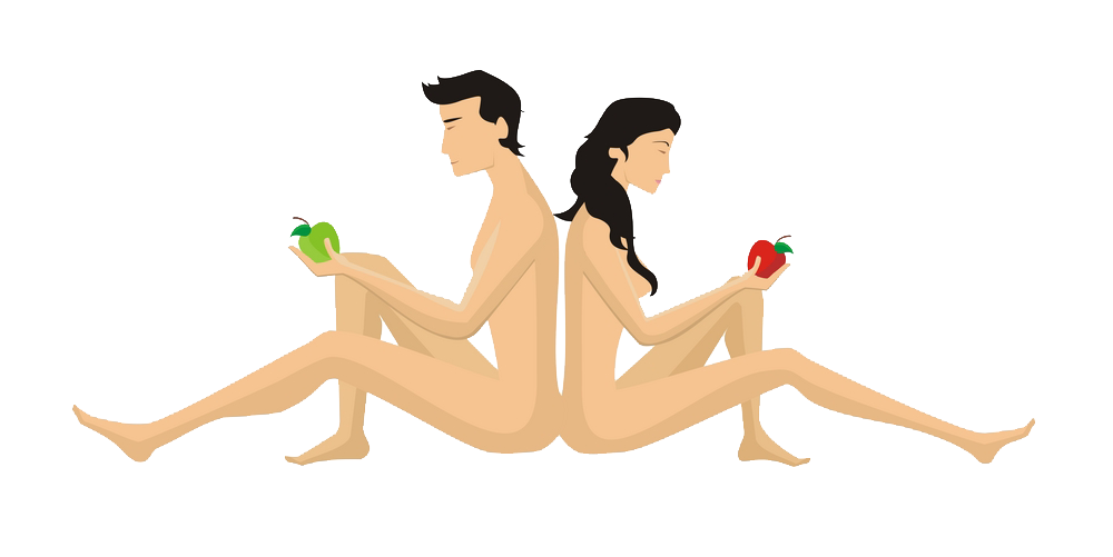 Eden Garden Logo - Naturist Adam and Eve  with apple